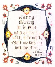 Jerry - Name Blessings Personalized Cross Stitch Design from Joyful Expressions Cross Stitch Designs, Stitch Patterns, Names With Meaning, Joyful, Gifts For Family, Custom Framing, Blessings, Bible Verses, Blessed