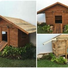 Kids Playhouse from Wooden Pallets is an incredible project for your children. Your kids might be very satisfied to see this pallet play house. Pallet Playhouse, Pallet Shed, Pallets Garden, Playhouse Interior, 1001 Pallets, Recycled Pallets, Wooden Pallets, Recycled Materials, Pallet Crafts