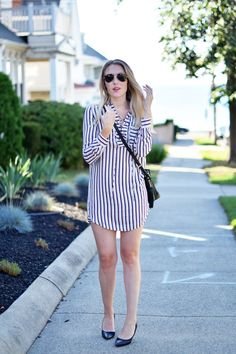 striped lace up shir