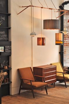 Førest London store in Clerkenwell sells original and authentic mid-century furniture and lighting. i know this is a display, but kind of a cool idea for displaying a collection of lamps in the house.