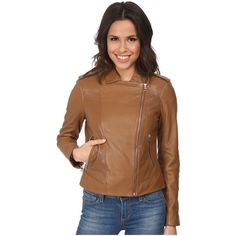 Cole Haan 20 Leather Moto Jacket Women's Coat ($498) ❤ liked on Polyvore featuring outerwear, jackets, leather biker jacket, lined leather jacket, brown motorcycle jacket, motorcycle jacket and cole haan jacket
