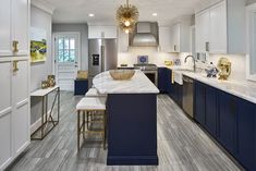 Navy and white kitchen remodel with brass accents by Case Design/Remodeling in Charlotte, NC - Kitchen Ideas Kitchen And Bath Remodeling, Kitchen Remodel, Kitchen Reno, Kitchen Ideas, Ikea Savedal, Layout Design, Tile Design, Design Ideas, Blue White Kitchens