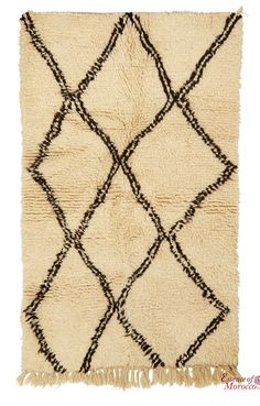 Beni Ourain Rug Vintage. Moroccan Pure Wool . Hand-knotted Handmade in Morocco Genuine and Authentic.159 cm x 94 cm (BOS5)