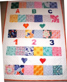 Baby quilt cot quilt colourful patchwork quilt by StephsQuilts