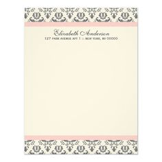 White and Gray Damask Flat Thank You Notes