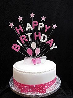 Personalised Happy Birthday Cake Topper Multicoloured Any Name And