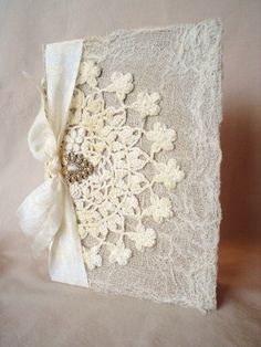Altered Vintage Lace Doily Shabby Buttons Journal Diary Notebook.  Use this as inspiration for books of earrings.  Use Styrofoam covered in lace for the inside to push stud earrings into.