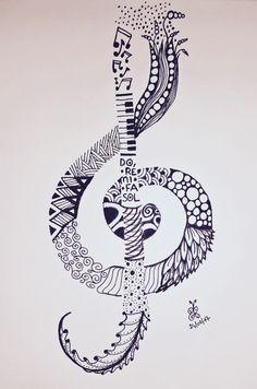 Coloriage colouring coloring zentangle zendoodle doodle musique music clé d Music Drawings, Cool Art Drawings, Pencil Art Drawings, Art Sketches, Doodle Art Drawing, Mandala Drawing, Treble Clef Art, Music Doodle, Zen Doodle