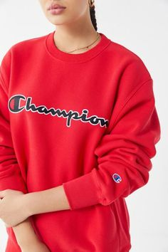 1fa2a0ad2f32 Shop Champion Chain Stitch Script Crew-Neck Sweatshirt at Urban Outfitters  today. Discover more