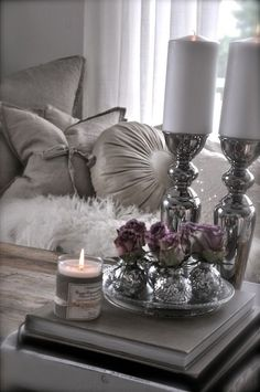 Candles bedroom decorating ideas Silver Valentine's Day