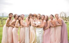 #bridesmaids in shades of #pink Photography by lizmaryann.com  Read more - http://www.stylemepretty.com/2013/09/26/keswick-virginia-wedding-from-liz-maryann-photography/