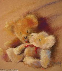 Breton Michel - Two Friends Cute Stuffed Animals, Teddy Bears, Friends, Drawings, Pastels, Artworks, Roses, Painting, Childhood