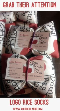 Doula Tips: A rice sock with your business logo on it is a great way to get doula referral business.