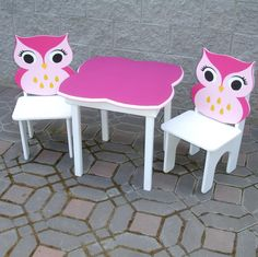 Pink Chalkboard Girls Owl Table and Chair by GreatCustomFurniture, $250.00
