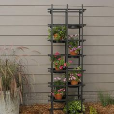 This easy weekend project uses inexpensive wood trellises and dowels you can buy at most home improvement stores. Add interesting containers for a hint of color or pattern. Follow our step-by-step instructions to build your own DIY plant wall. #diyplantwall #outdoorplantwall #outdoorplantstand #outdoordecorideas #bhg