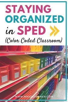 How to implement a color coded classroom to stay organized in special ed. Color coding your classroom helps the teacher stay organized, as well as the students. Color coding aides in student independence as well as student transitions. Learn more at Mrs. D's Corner. MDC®. Classroom Hacks, Classroom Setup, Future Classroom, Preschool Special Education, Education College, Science Education, Physical Education, Teacher Supplies, Resource Room