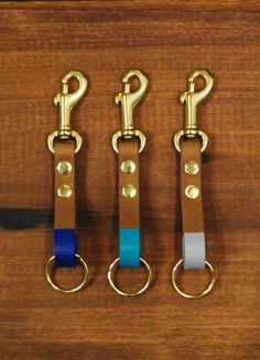 """Leather Key Fob With Clip : Light Brown Leather Colorblocked Keychain, """"The Tango Clip Fob"""""""