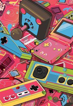 Pokemon, Zelda, Mario, and all things Nintendo Retro Videos, Retro Video Games, Video Game Art, Retro Games, Graphic Design Trends, Retro Design, 90s Design, Flat Design, Cartoon Kunst