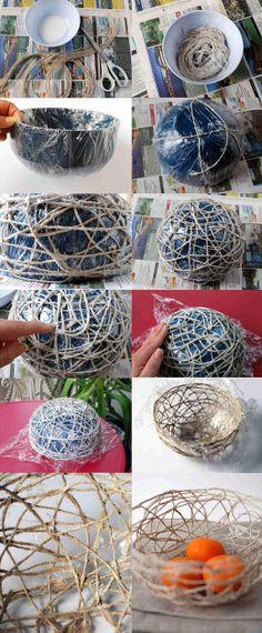 DIY Twine Fruit Hanging Basket