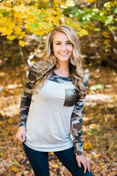 Camo with Sequin Fall Top | LucyAve.com