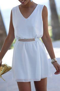 Pretty - White Sequins Belt, Sleeveless Dress.