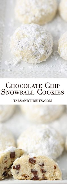 Chocolate Chip Snowball Cookies - A buttery melt in your mouth cookie filled with mini chocolate chips and coated with soft powdered sugar! Chocolate Chip Cookie Bars, Mini Chocolate Chips, Homemade Chocolate, Super Cookies, Yummy Cookies, Mini Cookies, Drop Cookies, Cookie Recipes, Dessert Recipes