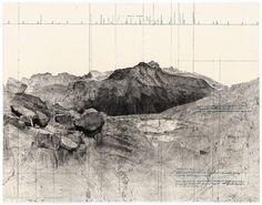 Avec ces oeuvres qui mélangent les perspectives, des cartes et des éléments du paysage, Matthew Rangel documente ses randonnées dans les montagnes de la Sierra Nevada.