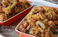 Gluten-free cornbread stuffing with mushrooms and bacon