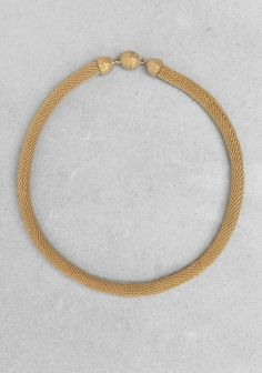 Gold Woven Metal Cord Necklace