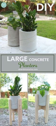 32 DIY Backyard Concrete projects that help you build your outdoor space with a b … - Diy Garden Projects Large Concrete Planters, Backyard Planters, Large Backyard Landscaping, Concrete Pots, Concrete Garden, Planter Garden, Garden Art, Planter Ideas, Large Diy Planters