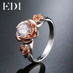 EDI Natural Topaz Rose Flower Crystal Engagement Ring Beauty And The Beast Gemstone 925 Sterling Silver Bands Fine Jewelry #BestFineJewelry