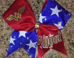 super hero cheer bow pink cheer bow flyer bow by Baddablingbows
