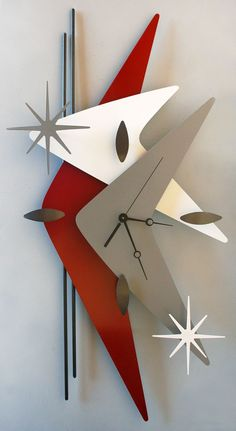 Gorgeous handcrafted steel boomerang wall clock ------- but this could also be wood. I think Michael would actually like something like this, poor deluded boy. Mid Century Art, Mid Century Decor, Mid Century Modern Design, Mid Century Furniture, Modern Clock, Modern Wall, Modern Bedroom, Modern Living, Retro Clock