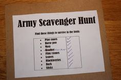 "Army scavenger hunt ideas....teams must find their own color coded ""loot"" for a future mission"