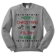 Grau Crewneck Frohe Weihnachten dir dreckige von TeesAndTankYouShop