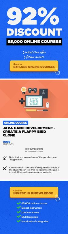 Java Game Development - Create a Flappy Bird Clone Game Development, Development #onlinecourses #learningathomelink #onlineeducationdegreeJava game development, Java, Game If you know anything about Java, you'll know that it can be used in an almost endless number of ways. One of the most popular uses is for game development. Since gaming is a billion dollar industry and rising, there are plen...