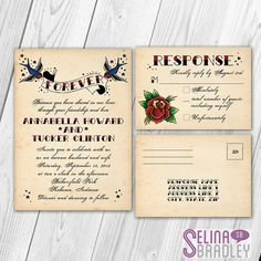 Vintage Tattoo Wedding Invitation and RSVP Postcard Set with Printable DIY Option Wedding Bells, Diy Wedding, Dream Wedding, Wedding Ideas, Wedding Prep, Wedding 2015, Nautical Wedding, Wedding Things, Wedding Stuff