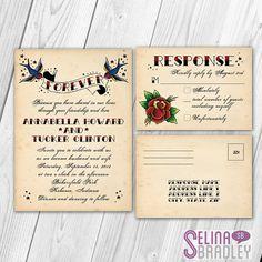 Tattoo Vintage Rockabilly Wedding Invitation & RSVP Postcard Set with Printable DIY Option on Etsy, $1.25