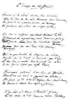 Le manuscrit du poème Le Vin des Chiffonniers, des Fleurs du Mal. On remarquera que le premier titre préssenti pour le texte était L'ivresse du chiffonnier.