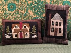 Cricket street wool Carolyn Snyder village of pillows, done by Ruth Dee Whisnant