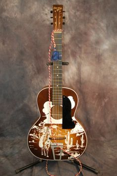 1942 Kay Del Oro Lefty Cowboy Parlor Guitar with Original Case $500.00 | Lawman Guitars..515-864-6136 Used Guitars, Fender Guitars, Acoustic Guitars, Guitar Girl, Cool Guitar, Cartoon Network Adventure Time, Adventure Time Anime, Acoustic Guitar Pictures, Taylor Guitars