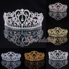 Crystal Wedding Tiara Crown Veil Headband Prom Pageant Princess Crowns Headpiece in Clothing, Shoes & Accessories, Wedding & Formal Occasion, Bridal Accessories | eBay