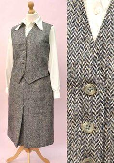 e5762b553 Women's Vintage Grey Herringbone Tweed Skirt Suit & Waistcoat • Bespoke  Made – TopNotchVintage.