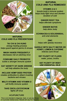 Natural remedies and preventions for the cold and flu- these will help protect you from ALL strains of the flu, unlike the flu shot...
