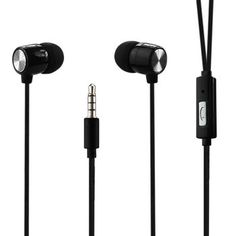 Reiko Braided Wire Earphone 3.5Mm With On/Off Button And Mic Black
