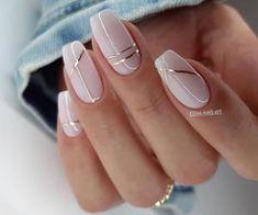 Neutral Nail Designs, Manicure Nail Designs, Neutral Nails, Beautiful Nail Designs, Elegant Nail Designs, Line Nail Designs, Chic Nail Designs, Silver Nail Designs, Silver Nail Art