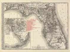 Antique map of Florida from 1900