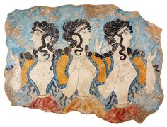 The Ladies of the Court. The Minoan Ladies of the Court Fresco, found in the west wing of the palace of Knossos, gives us a glimpse of the ideal female as well as court fashions. They are dressed in elegant gowns and appear to be participating in some sort of event. The white skinned ladies have elaborate coiled hairstyles embellished by ropes of beads and wear delicate necklaces and bracelets. Custom Greek Replica sizes available.
