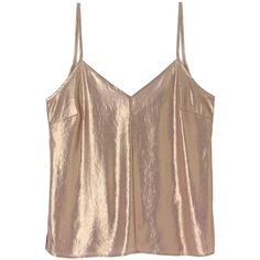 a day in a life - Gold Foil Chiffon Camisole Top (813.585 IDR) ❤ liked on Polyvore featuring tops, crop tops, brown camisole, chiffon camisole, v neck camisole top, camisole tops and spaghetti-strap top