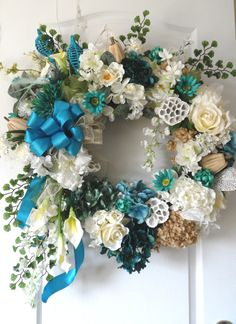 Custom Tiffany blue year round wreath!